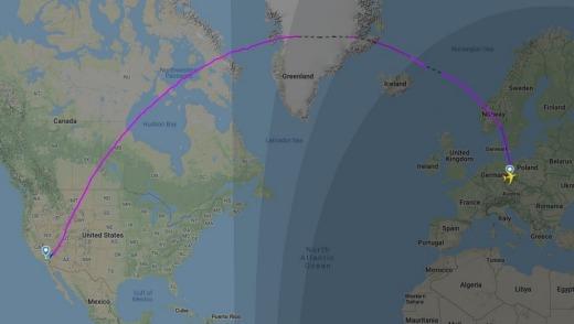 Ruta de vuelo QF6006 desde Dresden, Alemania a Victorville, Estados Unidos.
