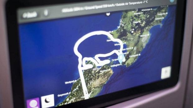 La ruta de vuelo final para el vuelo de pequeños héroes de Air New Zealand el sábado.